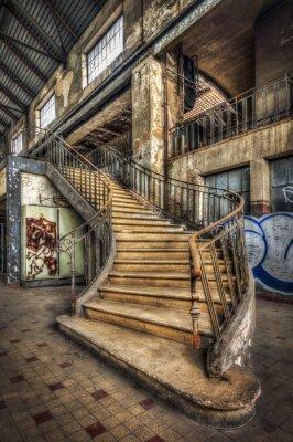 Naklejka Nałożenie schody wewnątrz hali opuszczonej elektrowni
