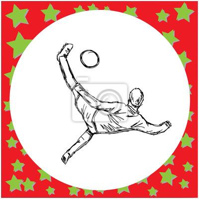 Napowietrznych kick soccer player - ilustracji wektorowych szkic strony wyciągnąć z czarnymi liniami, odizolowane na białym tle