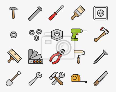 Narzędzia naprawy Minimalna linia płaskiej linii konspektu Ikona skoku ikona Piktogram Zestaw zbiorczy symboli. Młot, śrubokręt, nakrętka, farba, szczotka, wiertarka, oś, szczypce, rolki, klucz, piła,