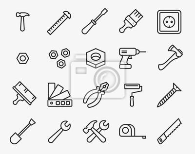 Narzędzia naprawy Minimalna linia prostopadła do przodu Ikona Obrysu Skrótu Piktogram Zestaw Zestawów Symbolów. Młot, śrubokręt, nakrętka, szczotka do malowania, wiertarka, oś, szczypce, rolki, klucz,