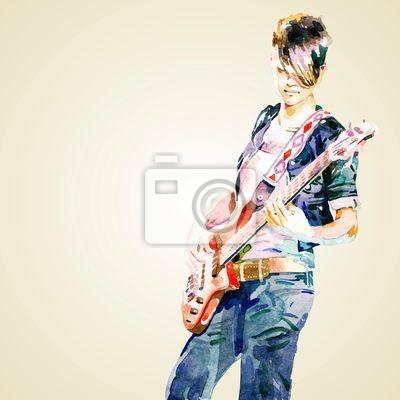 nastolatka gry na gitarze