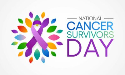 Naklejka National Cancer survivors day is observed every year in June, it is a disease caused when cells divide uncontrollably and spread into surrounding tissues. Cancer is caused by changes to DNA.