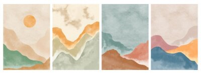 Naklejka Natural abstract mountain on set. Mid century modern minimalist art print. Abstract contemporary aesthetic backgrounds landscape. vector illustrations