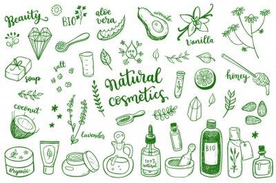 Naklejka Natural cosmetic, spa and self care doodle design elements set