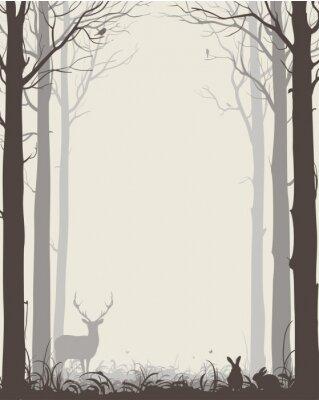 Naklejka naturalnego tła z sylwetki drzew i zwierząt