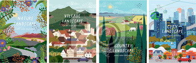 Naklejka Nature, village, country, city landscapes. Vector illustration of natural, urban and rustic background for poster, banner, card, brochure or cover.