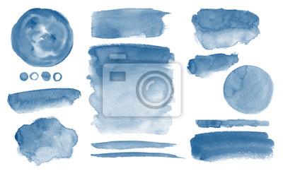 Naklejka Navy blue watercolor stains Invitation design Set of brush strokes