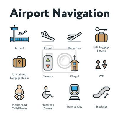 Nawigacja w porcie lotniczym Minimalizuj kolorowy kontur linii prostej Zestaw ikon obrysu. Przyjazd, Wyjazd, Winda, Schody ruchome, Kaplica, Pokój Matki i Dziecka.