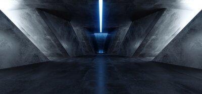 Naklejka Neon Laser Blue Sci Fi Modern Concrete Cement Dark Empty Asphalt Reflective Grunge Hall Room Corridor Tunnel Spaceship Glowing White Cinematic Daylight Rays Glow 3d Rendering