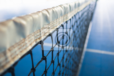 net of tennis with white stripe in blurred blue court