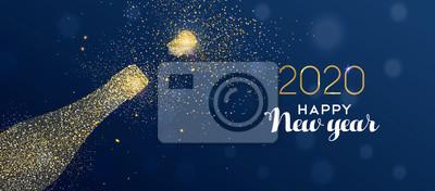 New Year 2020 banner of glitter champagne bottle