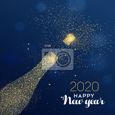 New Year 2020 card of glitter champagne bottle