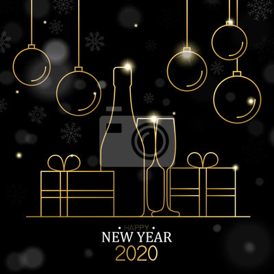 New Year 2020 card of gold line holiday decoration