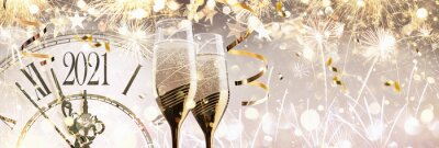 Naklejka New Year's Eve 2021 Celebration Background with Champagne