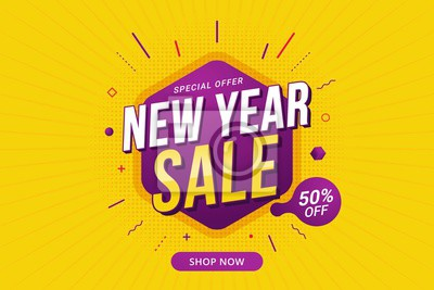 Naklejka New Year sale discount banner template promotion design for business