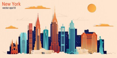 Naklejka New York city colorful paper cut style, vector stock illustration. Cityscape with all famous buildings. Skyline New York city composition for design.