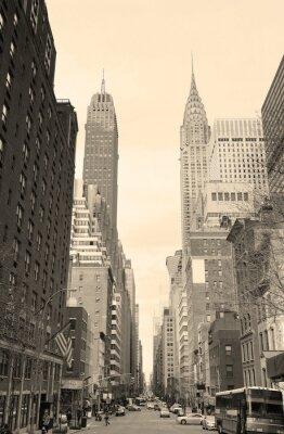 Naklejka New York City Manhattan widok ulicy w czerni i bieli