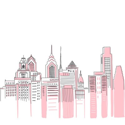 Naklejka New York city scape background. Hand drawn vector doodle graphics. Pink and black colours. Perfect for girlish design.