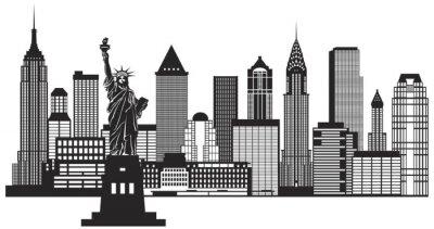 Naklejka New York City Skyline czarno-białych ilustracji wektorowych