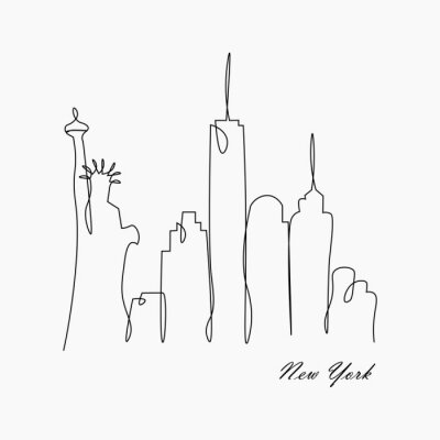 Naklejka New york city skyline with statue of liberty, usa, vector illustration.