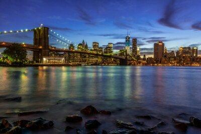 Naklejka New York City słońca Krajobraz z mostu Brooklyn, USA