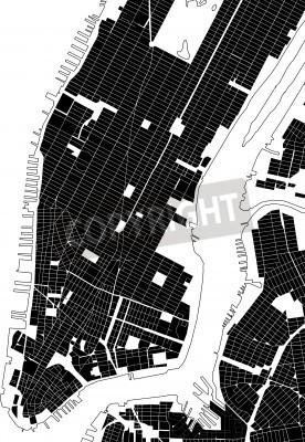 Naklejka New York czarno-białe plan miasta - ulicy tekstury