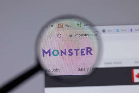 Naklejka New York, USA - 18 March 2021: Monster company logo icon on website, Illustrative Editorial