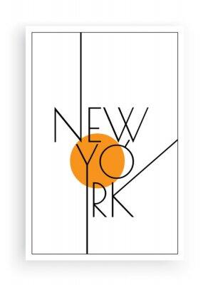 Naklejka New York, vector. Scandinavian art design. Minimalist poster design. Wall art work, wall decoration. Wording design, lettering