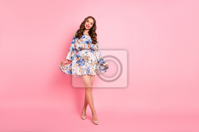 Nice lady ready for prom night wear cute dress isolated pink background