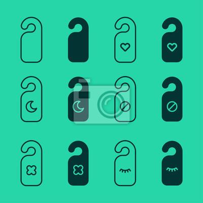 Nie przeszkadzaj Wieszak Drzwiowa Minimalistyczna Płaska Linia Ikona Piktogram Wektorowa