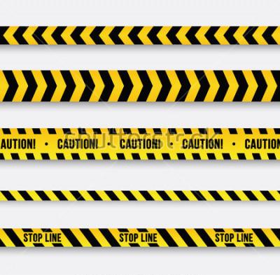 Naklejka Niebezpieczeństwo i linia policyjna. Żółta taśma ostrzegawcza. Ilustracji wektorowych.