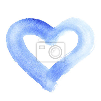 Niebieski akwarela serca