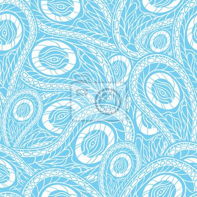 Niebieski bez szwu z Paisley - ilustracji wektorowych