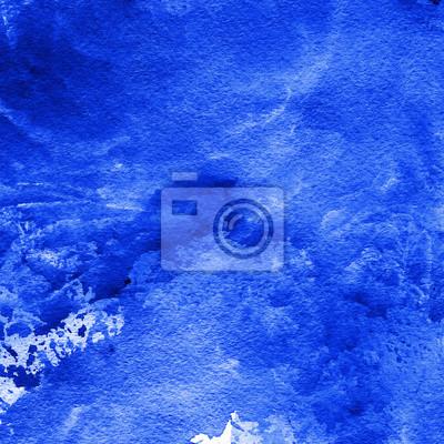 Niebieski i sapphirine nasycony kolor abstrakcyjna akwarela z plamami i tekstury papieru, ręcznie malowane