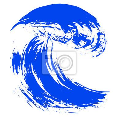niebieski pociągnięcie pędzla z teksturą. Grunge fali linii atrament. Logo Icon. Wektor
