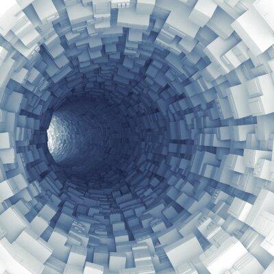 Naklejka Niebieski tunelu z segmentów technologicznych wyciskanych