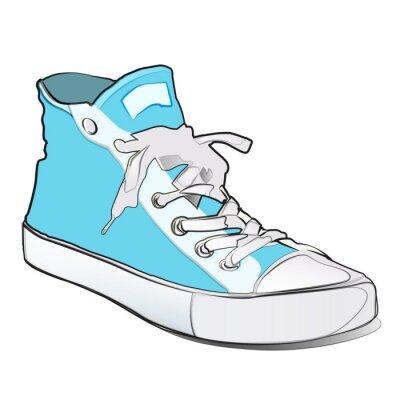 Niebieskie buty na białym. Cartoon.