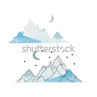 Naklejka Niebieskie góry. Rysunek krajobrazu w stylu akwareli. Ilustracji wektorowych