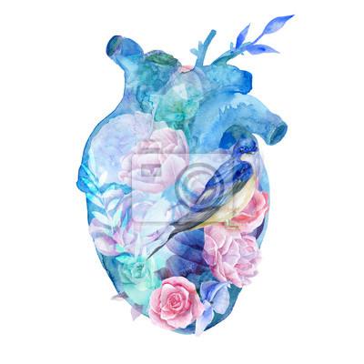 Naklejka Niebieskie serce akwarela