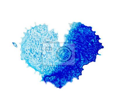 Niebieskie serce akwarela symbol.
