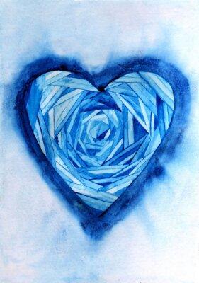 Niebieskie serce akwareli.
