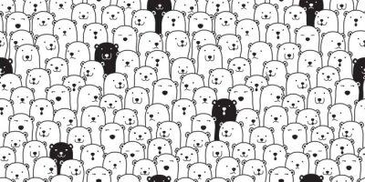 Naklejka Niedźwiadkowy bezszwowy deseniowy wektorowy niedźwiedź polarny trakenu szalika kreskówki ilustraci płytki ilustraci płytki tła powtórki tapetowy doodle