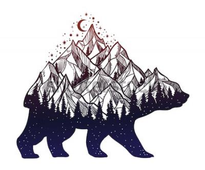 Naklejka Niedźwiedź i nocny krajobraz górski w lesie, podwójna ekspozycja, sztuka tatuażu dzikich zwierząt, styl fantasy. Ilustracja wektorowa na białym tle.