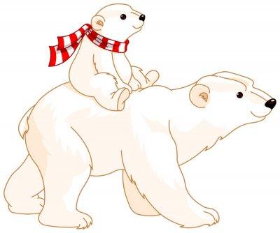 Naklejka Niedźwiedź polarny mama i dziecko
