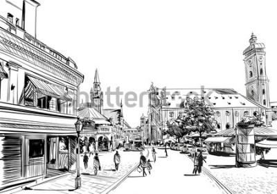 Naklejka Niemcy. Monachium. Ręcznie rysowane szkic, ilustracji wektorowych