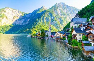 Naklejka niesamowite małe alpejskie wioski Hallstatt, Austria