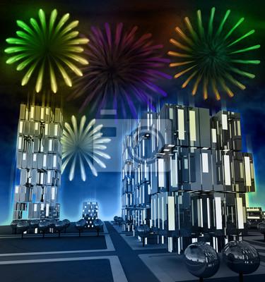 Niesamowity pokaz sztucznych ogni w nocy na panoramę miasta