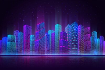 Naklejka Night city panorama. Colorful landscape, retro neon futuristic cityscape. Beach downtown buildings, abstract urban recent vector background. Office building, beautiful view cityscape illustration