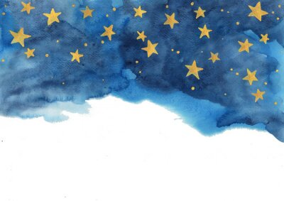 Naklejka Night sky and gold star watercolor hand painting  for decoration on winter season and Chritsmas holiday.