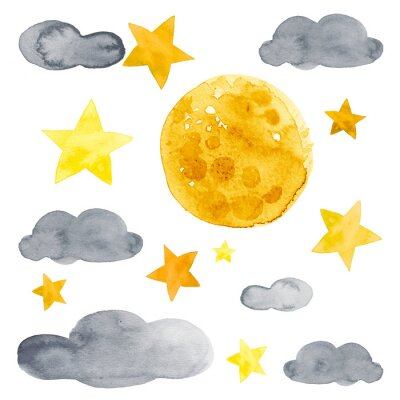 Naklejka Night sky with moon, stars and clouds watercolor illustration set